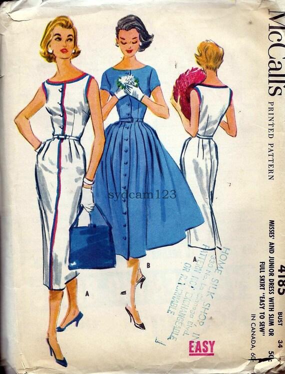 Vintage 1957 Button Front Wiggle or Full Skirt Dress...Bateau Neckline...Sleeve Variation...McCalls 4185 Bust 34 UNCUT
