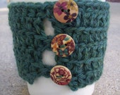 ON SALE 20 Percent Off - Patterns Coffee Cozy - Wool