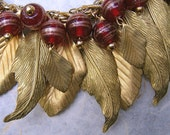 Vintage Golden Leaves with Ruby Glass Necklace