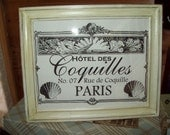Shabby Paris distressed picture frame Hotel Des Coquille PARIS decor,FRENCH decor,Paris bedroom decor,wall decor,wall hanging,SHABBY chic