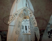 French embellished hanger Handstamped muslin mannequins tag Paris decor, french country,shabby chic,Paris bedroom decor,French bedroom