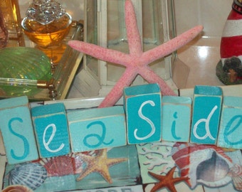 Beach decor Seaside blocks,beach cottage,shabby chic,beach bedroom decor,beach bathroom