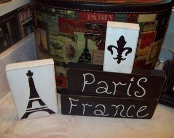 Paris France Fleur de lis Eiffel Tower shelf sitters sign French decor,Paris decor,shabby chic,Paris bedroom decor.Paris bathroom