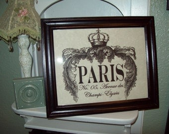 Shabby Paris picture frame Champs Elysees,Paris wall decor,Paris decor,French decor,Paris bedroom decor,French bedroom,French wall decor