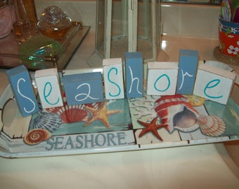 Beach cottage decor Seashore blocks,beach decor,beach bathroom,beach bedroom decor,shabby chic