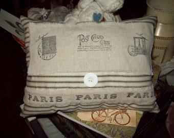 French small pillow black ticking postcard pillow,shabby chic,Paris decor,French decor,Paris bedroom decor