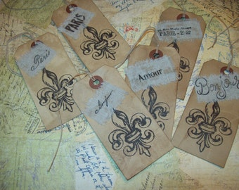 French Fleur de lis gift tags Wedding tags set of 6,Paris decor,French decor,gift tags