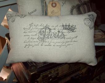 Small Paris postcard pillow,Paris decor,Paris bedroom decor,French bedroom,Paris throw pillow,Paris theme