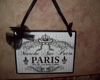 Paris Marche Aux Puces plaque,French decor,French Farmhouse,Paris theme,Paris bedroom decor,French bedroom decor,Fleur de lis decor