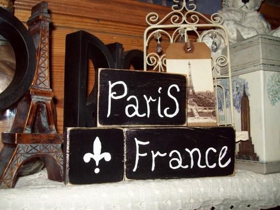 Prais France Shelf Sitters signs fleur de lis PARIS decor,FRENCH decor,Paris bedroom decor ,SHABBY chic,French bedroom,Paris bathroom decor