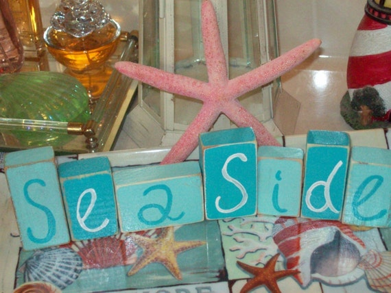 Beach Decor Seaside Blocksbeach Cottageshabby Chicbeach