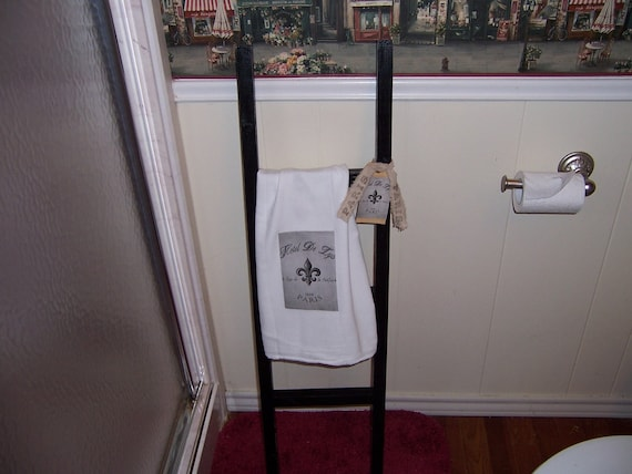 French decor...Shabby chic... Country... Bathroom decor...Decorative Black Ladder with teatowel and matching tag OOH LA LA