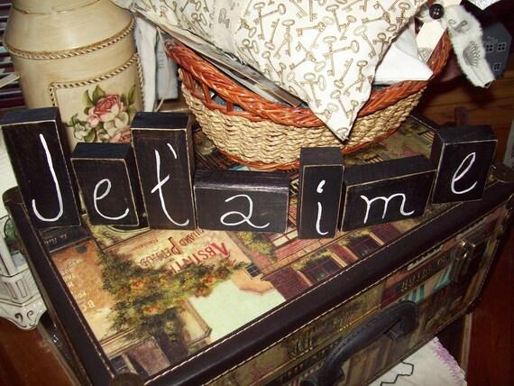 Je t aime letter blocks,Paris decor,French decor,Paris theme,Paris bedroom decor,Paris wedding decor,Paris bridal shower,I love you