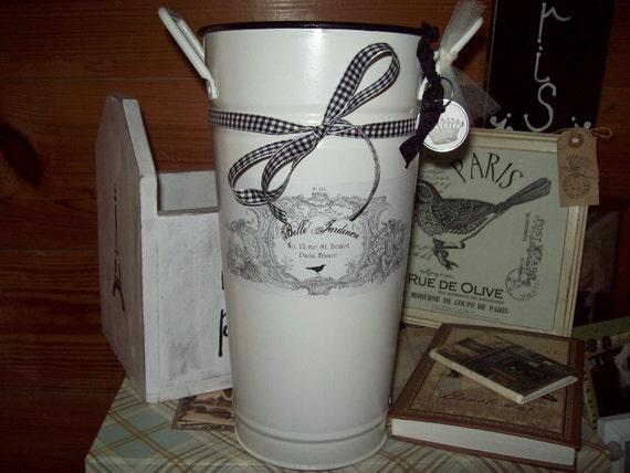 Shabby French bucket vase centerpiece  cream galvanized tin French label Belle Jardinere crown key tag  ribbon  OOH LA LA