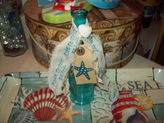 Beach decor...vintage look embellished blue beach bottle gone to the beach star fish shell