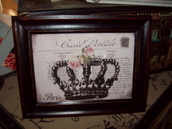 shabby chic paris picture frame 5 x 7 carte postale crown paris decor shabby chic french decor. Black Bedroom Furniture Sets. Home Design Ideas