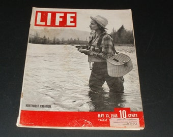 Vintage Life Magazine May 13 1946-Fishing Cover Art,Scrapbooking, Old ads, Retro Paper Ephemera