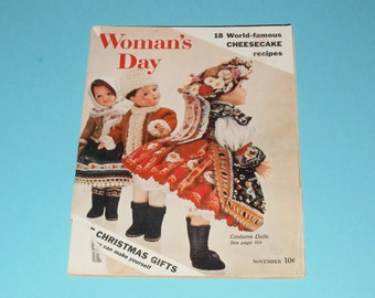 Vintage Womans Day Magazine November 1957-Costume Dolls-Christmas Gifts You can Make Yourself-art-Vintage Ads