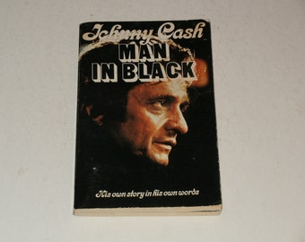 Johnny Cash - Man in Black-His Own Story in his own Words-Softcover 1975 Book with Photos-Vintage Book