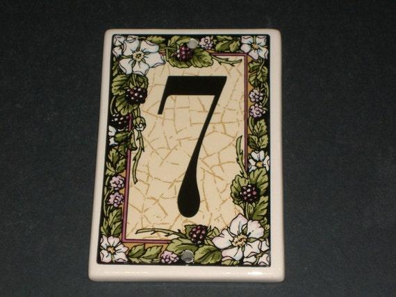 ornate decorative house address number 7 ceramic tile with. Black Bedroom Furniture Sets. Home Design Ideas