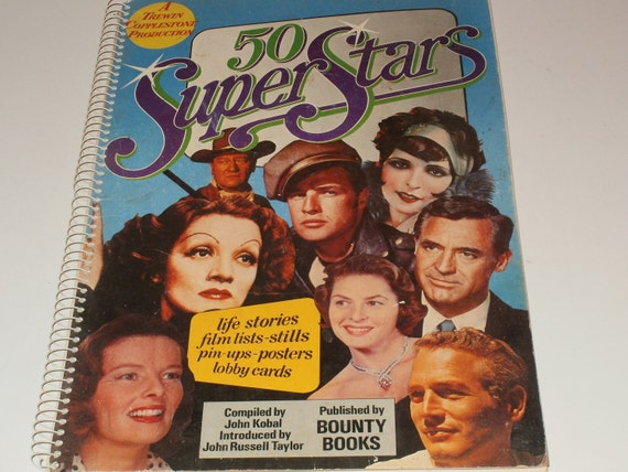 Vintage 1974 Oversize Poster Book 50 Super Stars-Movie Stars-Pin-ups-Art - Collectible-1st Edition-James Dean-Marilyn Monroe