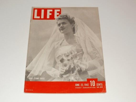 Vintage Life Magazine June 22 1942-War Stamp Bride Cover-Art Paper Ephemera-Vintage Ads Scrapbooking