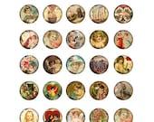 Digital Collage Sheet 204 Victorian Valentine 1 inch Circles Cupid Heart Children Hands