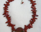 Picasso and Red Jasper Sterling Silver Fringe Necklace