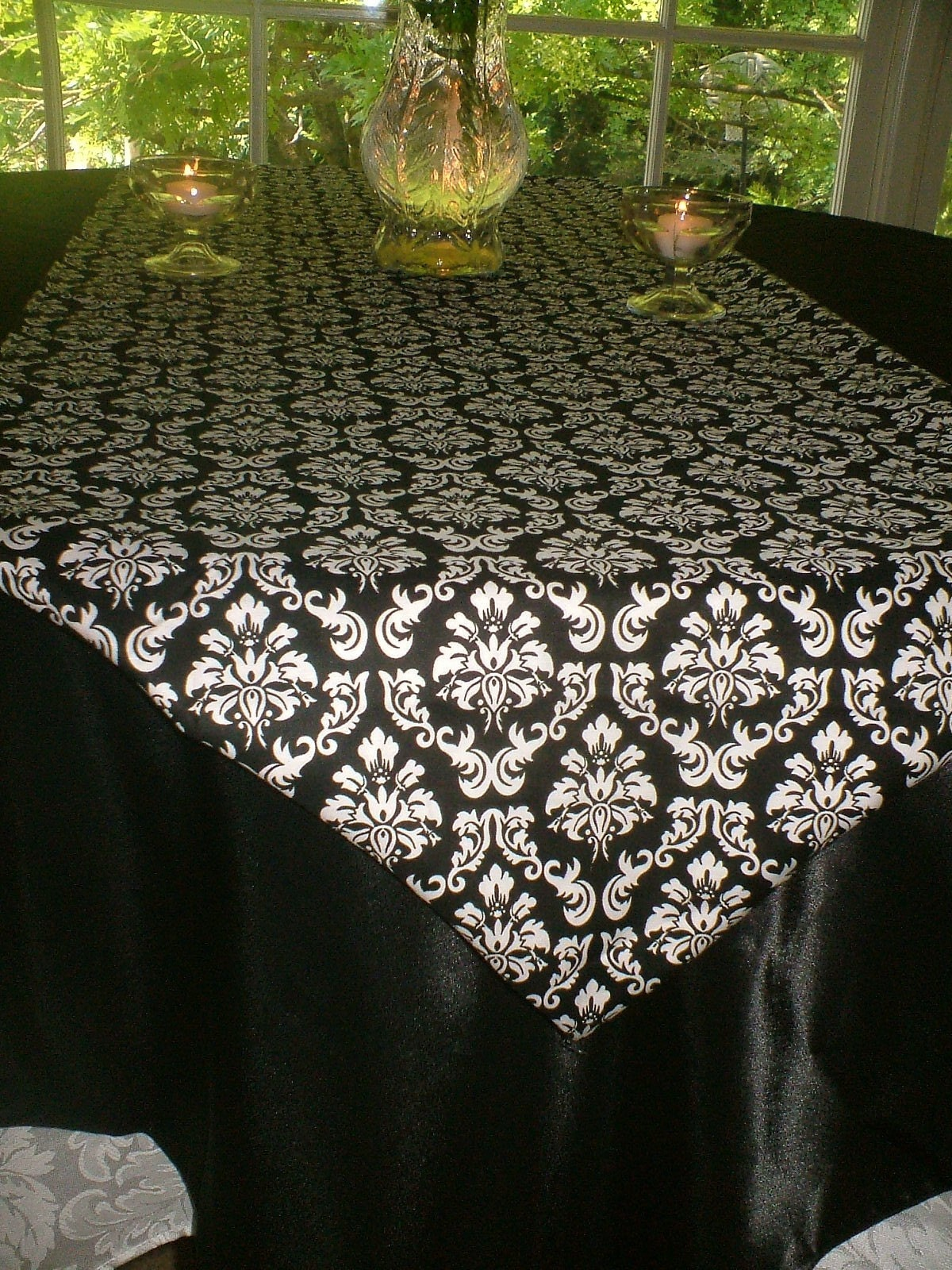 Black And White Damask Table Runners