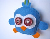Baby Chick Plush Felt Ornament - Blue and Orange Felt Baby Chick Bird