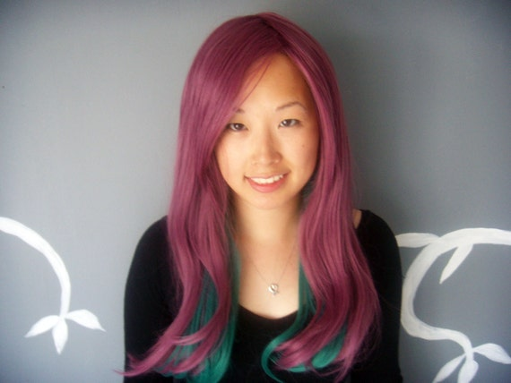 SALE Gems - Purple and Teal Long Wig - FREE SHIPPING