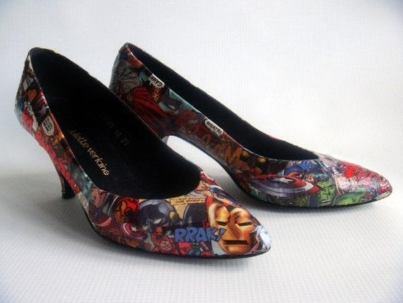 Custom Comic Book Heels - FREE SHIPPING