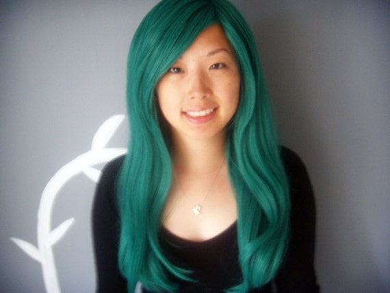 Vintage Jade -Teal Long Wig - FREE SHIPPING