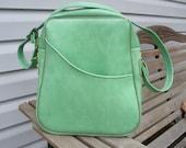 Vintage Lime Green Vinyl Carryon Travel Bag with Shoulder Strap