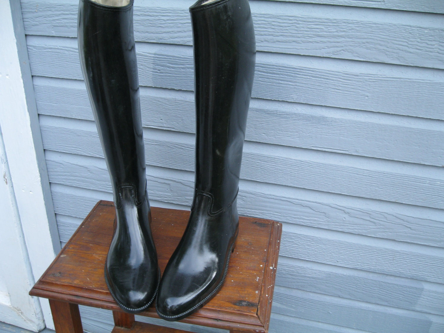 Vintage black rubber boots equestrian riding boots size 7 7