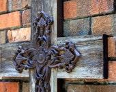 Large Cast Iron Cross. Large Wooden Cross. Rustic Wood Cross. Large Cross. Wood Cross. Reclaimed Wood Cross. 18 w x 22 l. Unfinished.
