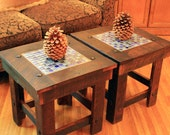 End Table / Bunching Table with Glass Mosaic Tile Inlay, Rustic, Reclaimed Wood, Dark Brown Wax Finish - Handmade