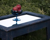 """Mirror Top Coffee Table with Storage (""""Denim & Diamonds""""), Rustic / Contemporary, Blue Jeans Finish - Handmade"""