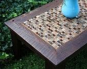 "Coffee Table, Glass / Stone Tile Mosaic, Reclaimed Wood, Rustic Contemporary, ""Roman Ruins"", Dark Brown Wax Finish - Handmade"