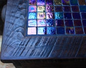 "End Table / Bedside Table, ""Glitter by Night"", Reclaimed Wood, Dark Brown Finish - Handmade"