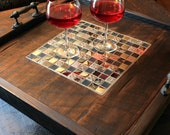 Large Serving Tray, Mosaic Tile Centerpiece, Reclaimed Wood, Rustic Contemporary, Dark Brown Finish, 24 x 24 - Handmade