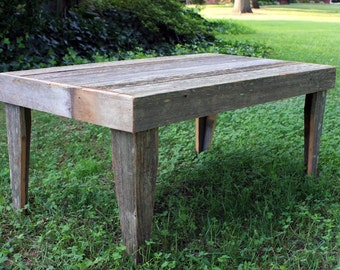 Coffee Table, Large, Rustic, Reclaimed Wood, Unfinished - Handmade