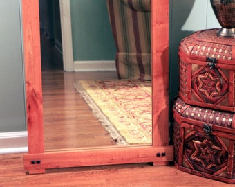 Rustic Cherry Full Length or Floor Mirror, Gloss Clear Coat Finish, 24 x 72 - Handmade
