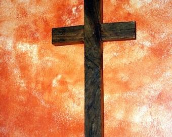 Rustic Wood Cross. Wood Cross. Narrow Cross. Reclaimed Wood Cross. Dark Brown Wooden Cross. 9 w x 18 l Cross. Dark Brown Finish.