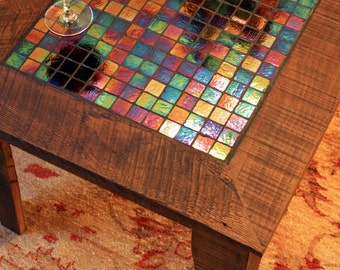 """625 Dollars:  Large Coffee Table with Irridescent Glass Tile Inlay, Light Java Finish - """"The Starry Night"""" - Handmade"""