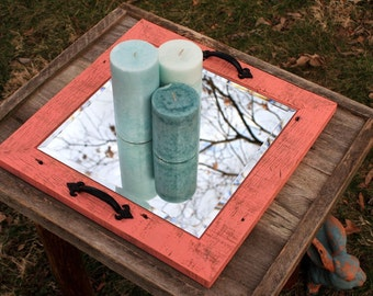 """Candle Holder. Candle Mirror Tray. Coffee Table Tray. Rustic Candle Tray. Candle Tray.  16"""" x 16"""".  Distressed Coral Finish."""