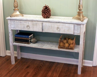 Whitewashed Sofa Table. White Hallway Table. Whitewash Entry Table.  Mother of Pearl Mosaic. 45 w x 12-1/4 d x 30 t. Distressed White Finish