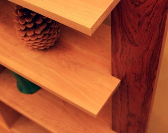 Bookcase / Room Divider, Contemporary, Maple & Bubinga, Gloss Clear Coat (Custom Available) - Handmade