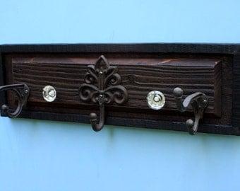 Wood Coat Rack.  Hat Rack.  Entryway Rack. Mudroom Storage Rack. Wall Coat Rack. 26 w x 8 t x 2 d.  Brown & Black Finish.