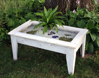 Display Coffee Table with Glass Top, Reclaimed Wood, Rustic / Contemporary, Antique White Finish - Handmade